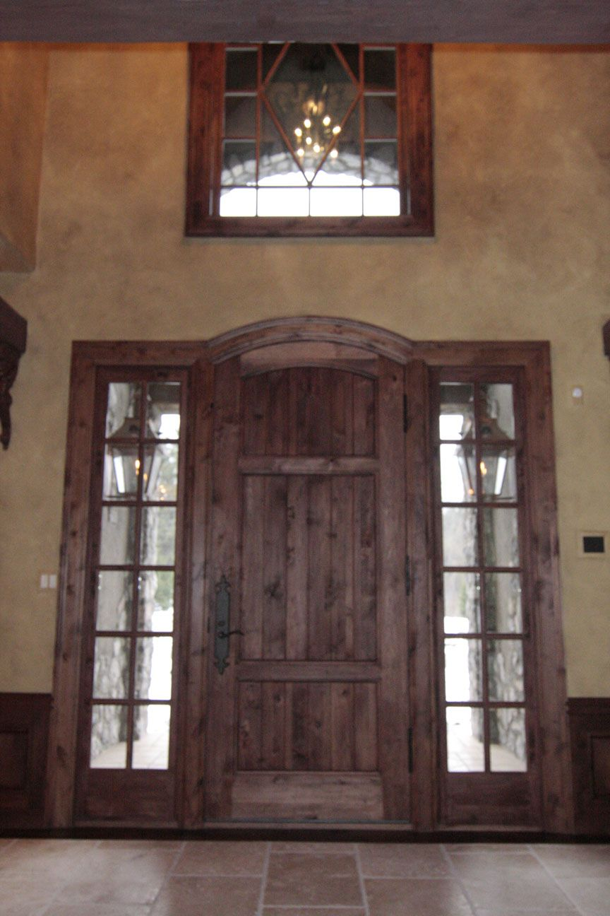 Western Red Cedar Entry Door System With Seeded Glass Side Lights And  Window Above.