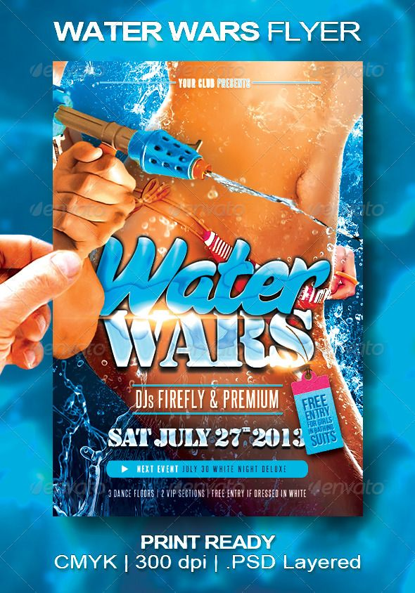 Water Wars Flyer Flyer design templates, Template and Adobe - pool party flyer template