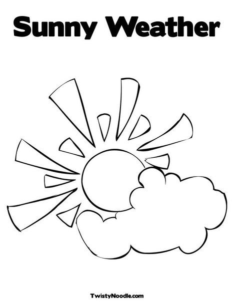 Sun With Clouds Coloring Page From Twistynoodle Com Free
