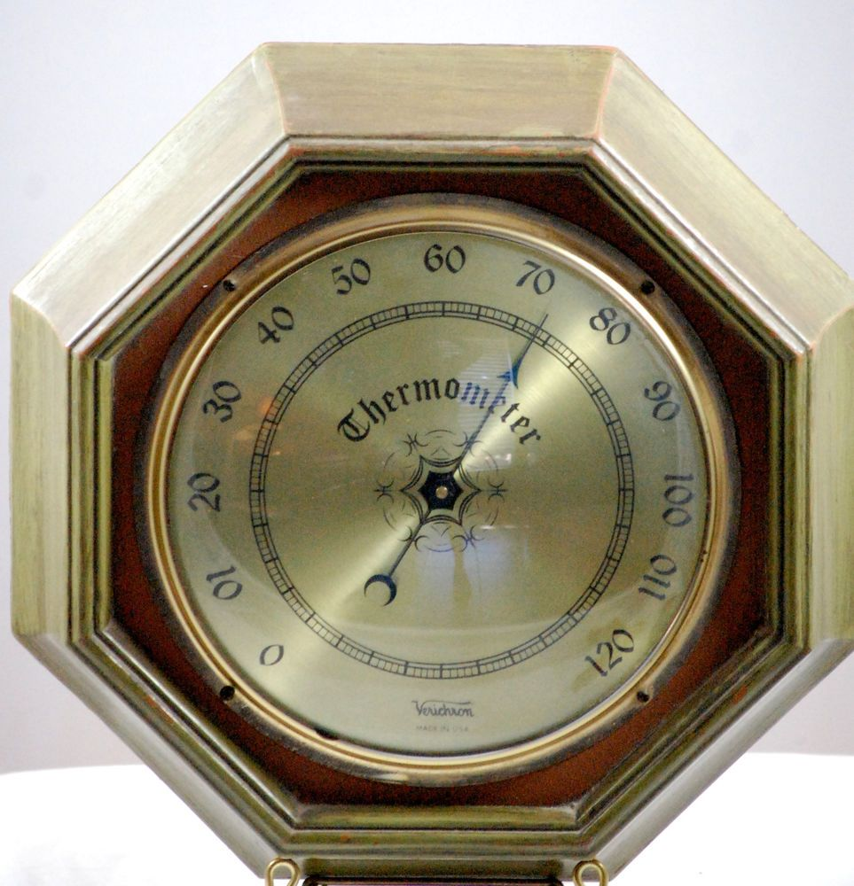 Mid Century Olive Green Verichron Indoor Wall Thermometer