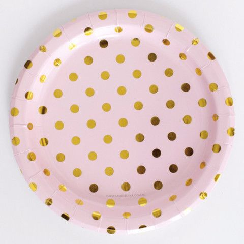 Beautiful simple pink paper plates with gold foil spots. Delightful on their own or mix with tableware in the range to create your own unique party.  sc 1 st  Pinterest & Pink Plates with gold Dots Sambellina | CARLA ROSEH TINTED ...