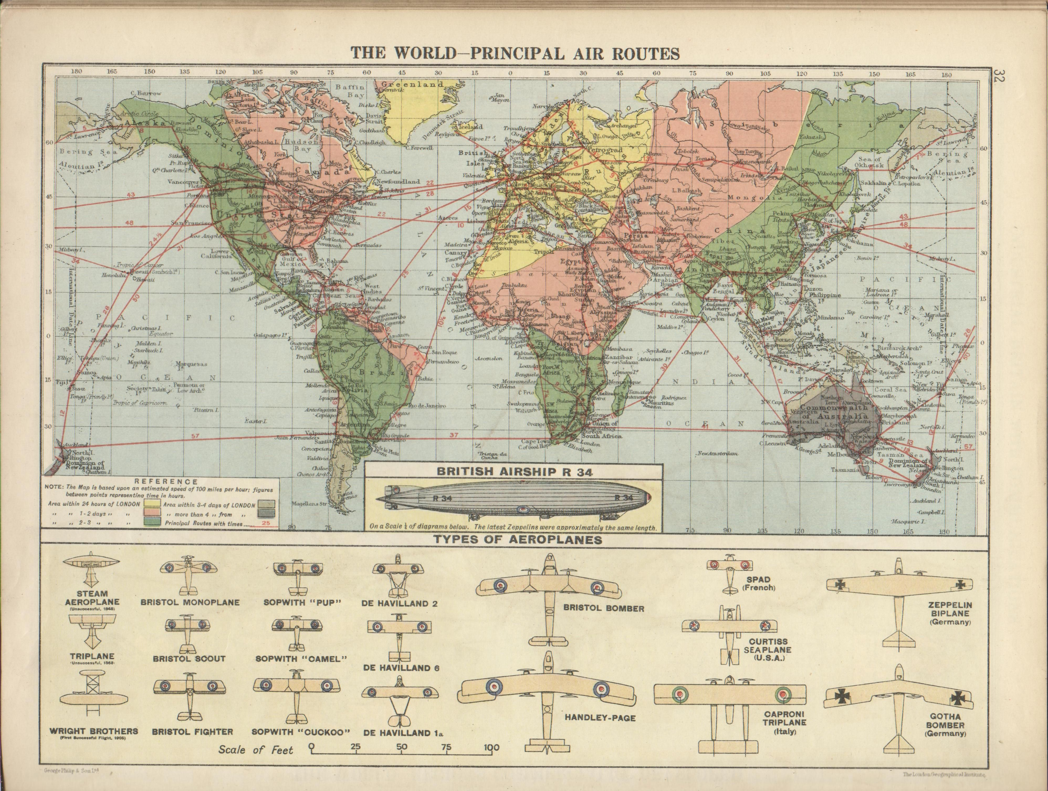 World Map With Principal Air Routes As Well As Examples Of - World map 1340 1600