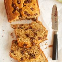 Lightly sweet and full of dark chocolate chips, this Chocolate Chip Peanut Butter Bread is a great anytime snack! - Bake or Break
