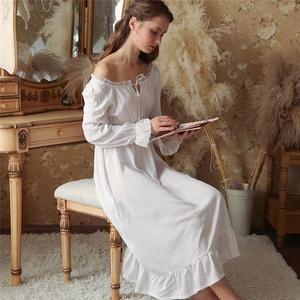 9c0feee3b9f3 Sexy Slash Lace Up Sleep Wear Night Dress Vintage Nightgown Long Sleeve Nightdress  White Cotton Sleepwear Women Nightshirt T347