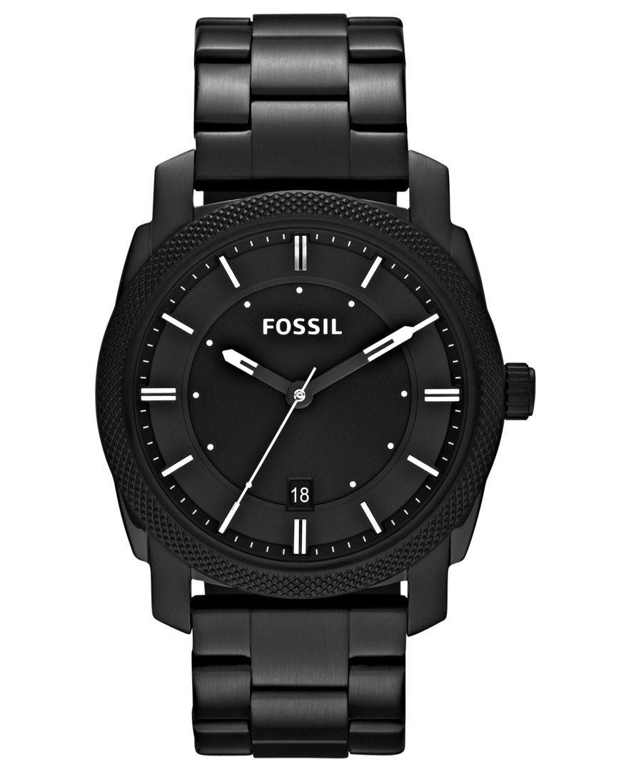 Fossil Watch, Men's Machine Black Tone Stainless Steel Bracelet 42mm Fs4775   Men's Watches