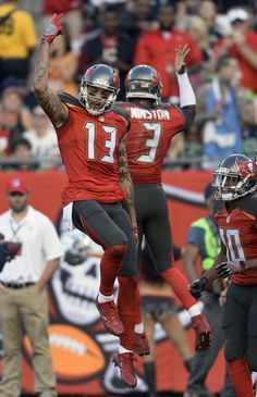 Mike Evans And Jameis Winston Celebrate Tampa Bay Bucs Tampa Bay Buccaneers Buccaneers