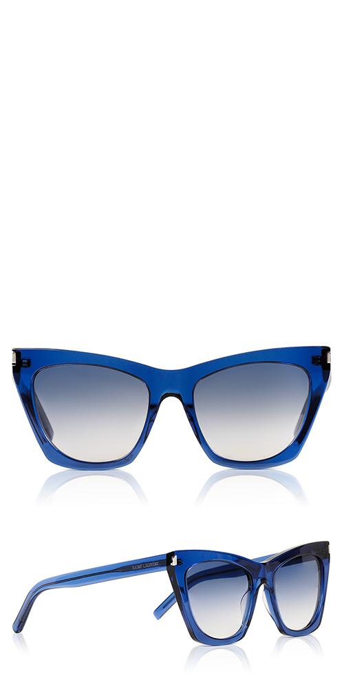 b9939357d3093 Saint Laurent s SL 214 Kate sunglasses are feminine square cat eye frame.  Details  Shiny blue frame Gradient Blue lenses Acetate 100% UV protection  Saint ...