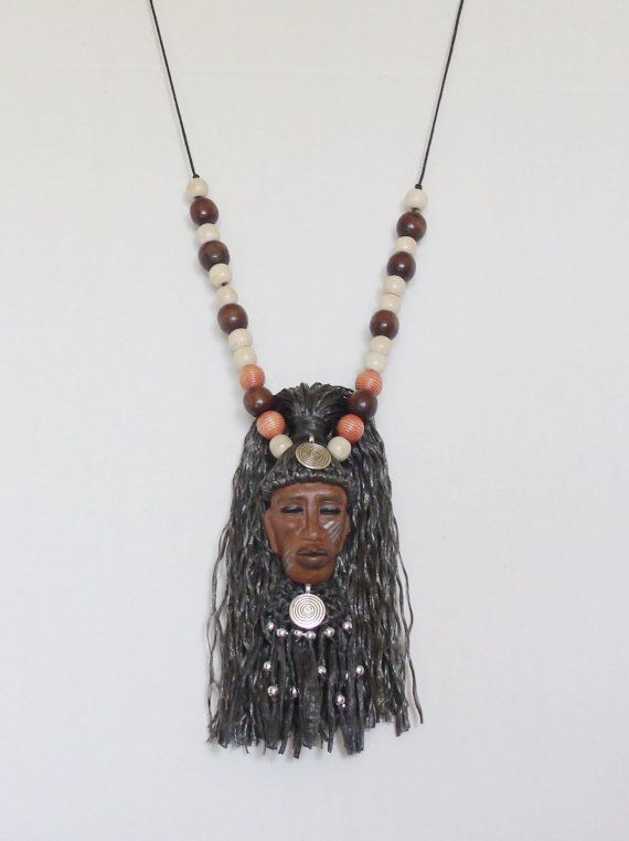 African Chief Mask Necklace by 1View on Etsy