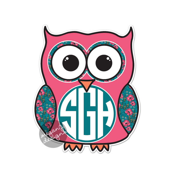 Custom Monogram Owl Decal - Colorful Floral Cute Car Sticker Decal  Personalized Initial Laptop Bumper Sticker