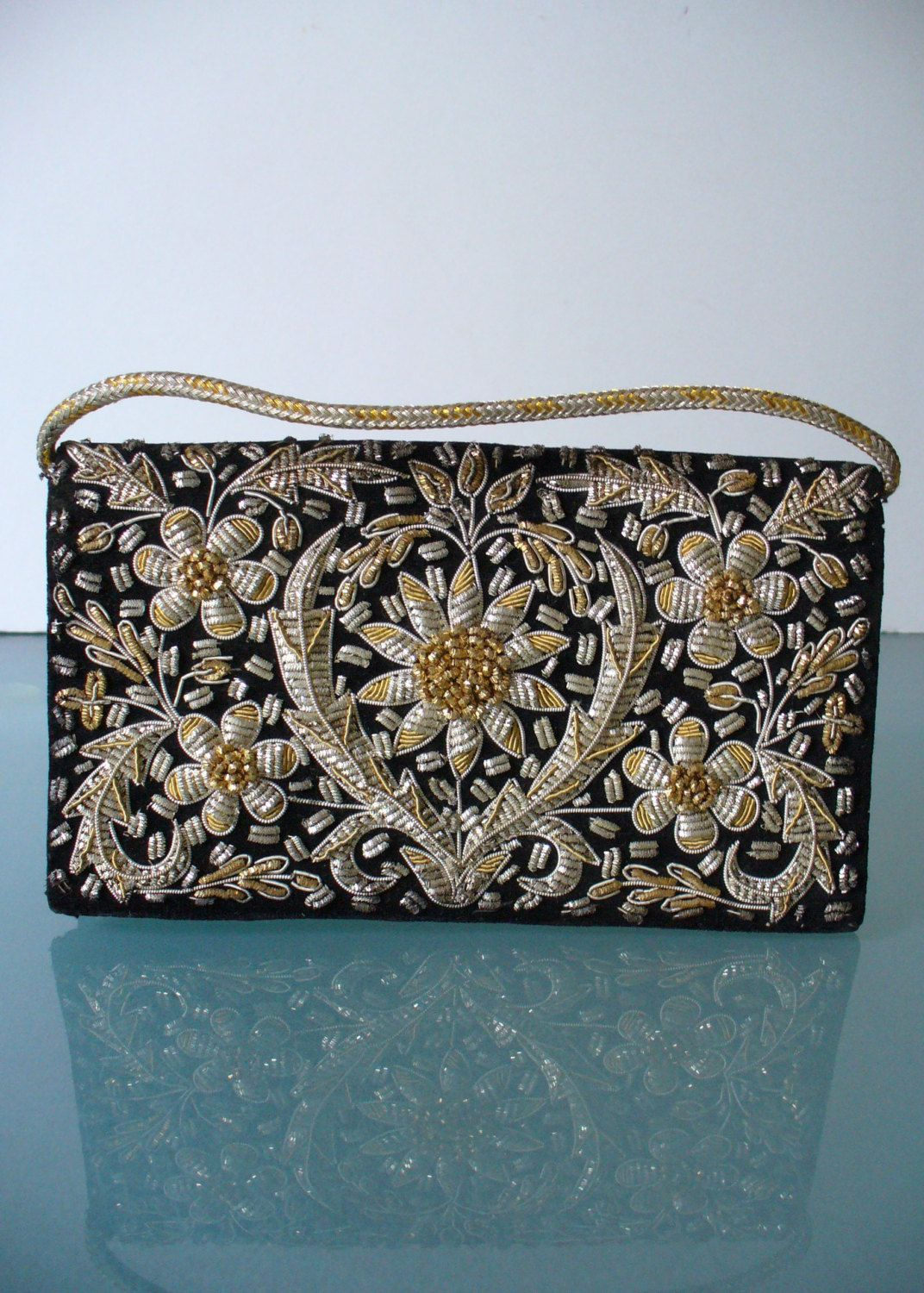 650621938ef Vintage Zardozi Embroidery Velvet Clutch Bag by TheOldBagOnline on Etsy