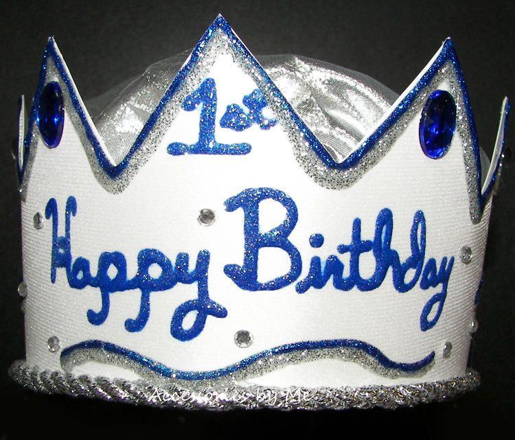 1st Birthday Hat Boys Blue First Happy Birthday Crown Babies Light Blue Satin Silver Lame Trim Hat Custo Birthday Hat Happy Birthday Crown 1st Birthday Hats