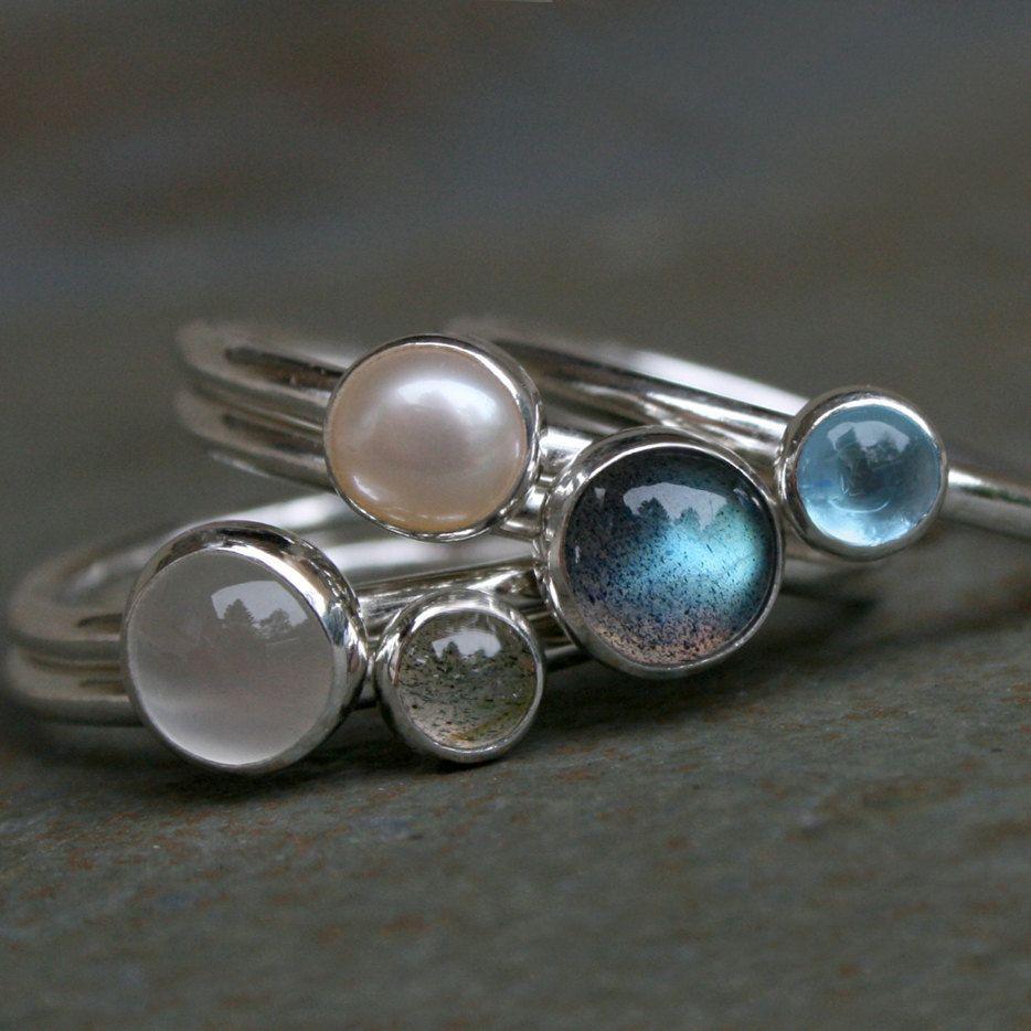 Handmade Labradorite and Sterling Silver Stacking Ring.
