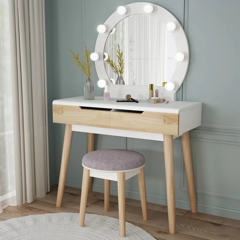 Hermanson Vanity Set With Stool And Mirror In 2020 Vanity Table Set Vanity Set Dresser Table