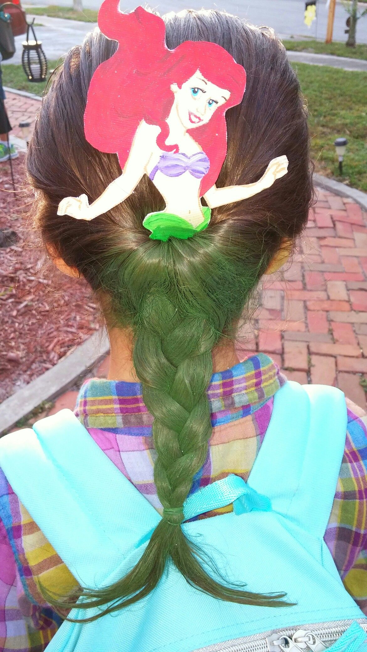 Ariel hair for crazy hair day hand painted ariel portion from