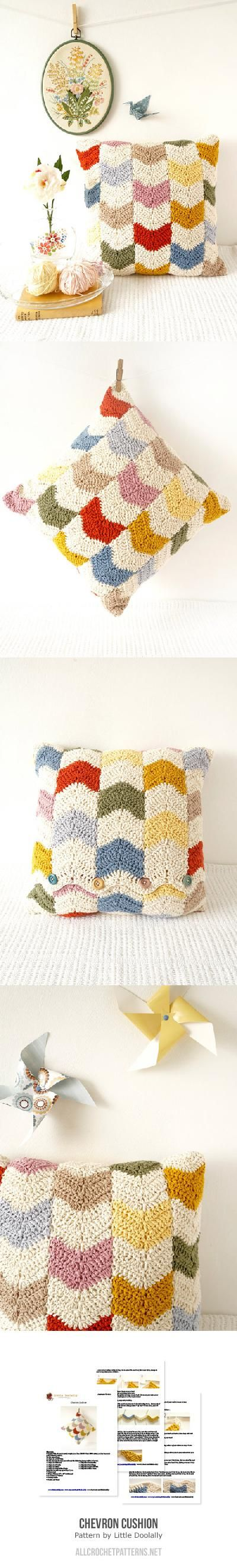 Chevron cushion crochet pattern by Little Doolally | Crafty ...