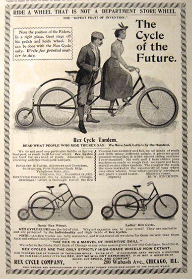 1898 Antique Rex Cycle Bicycle Ad Tandem Ladies Gents Cycles