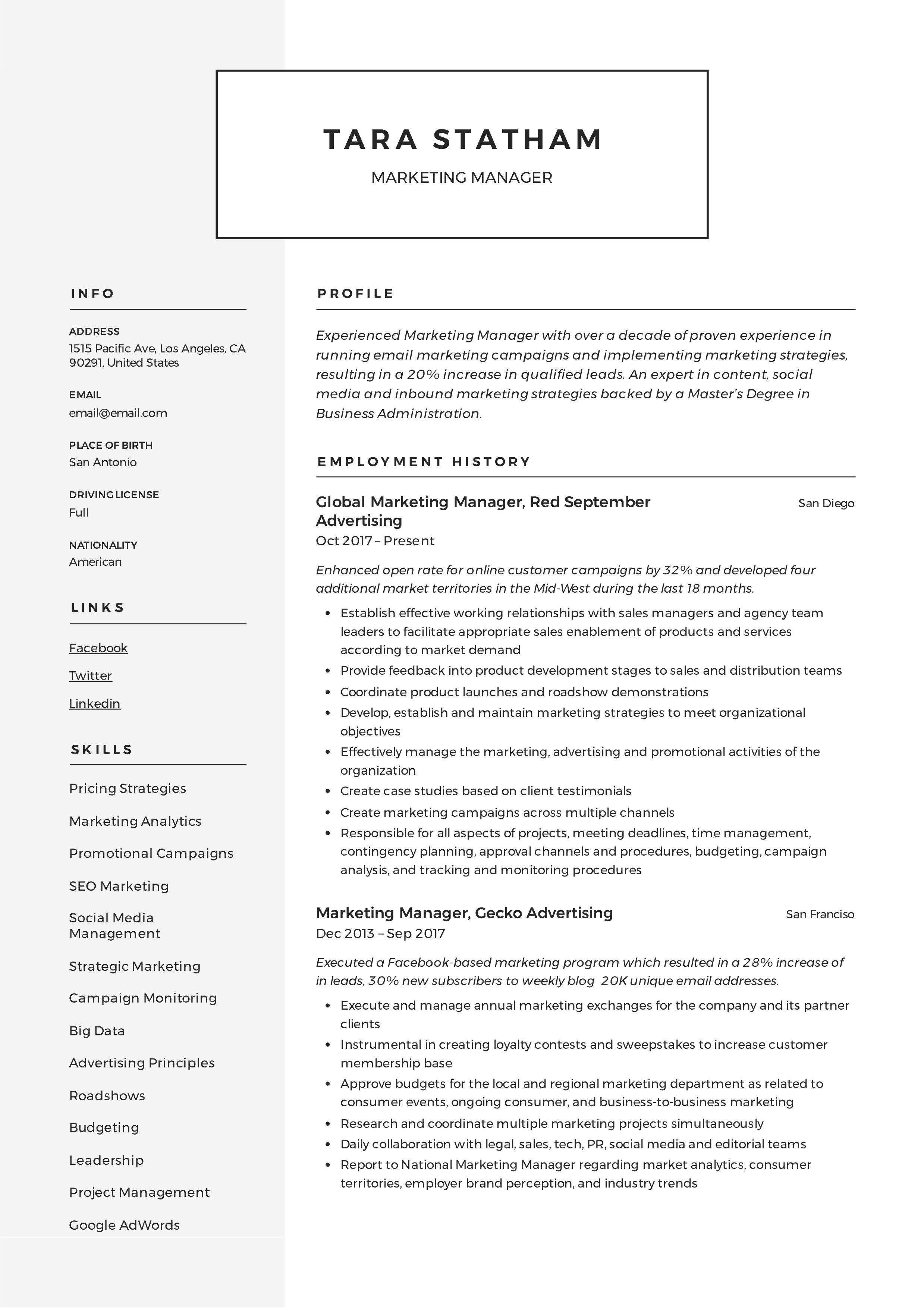 Marketing Manager Resume Writing Guide En 2020