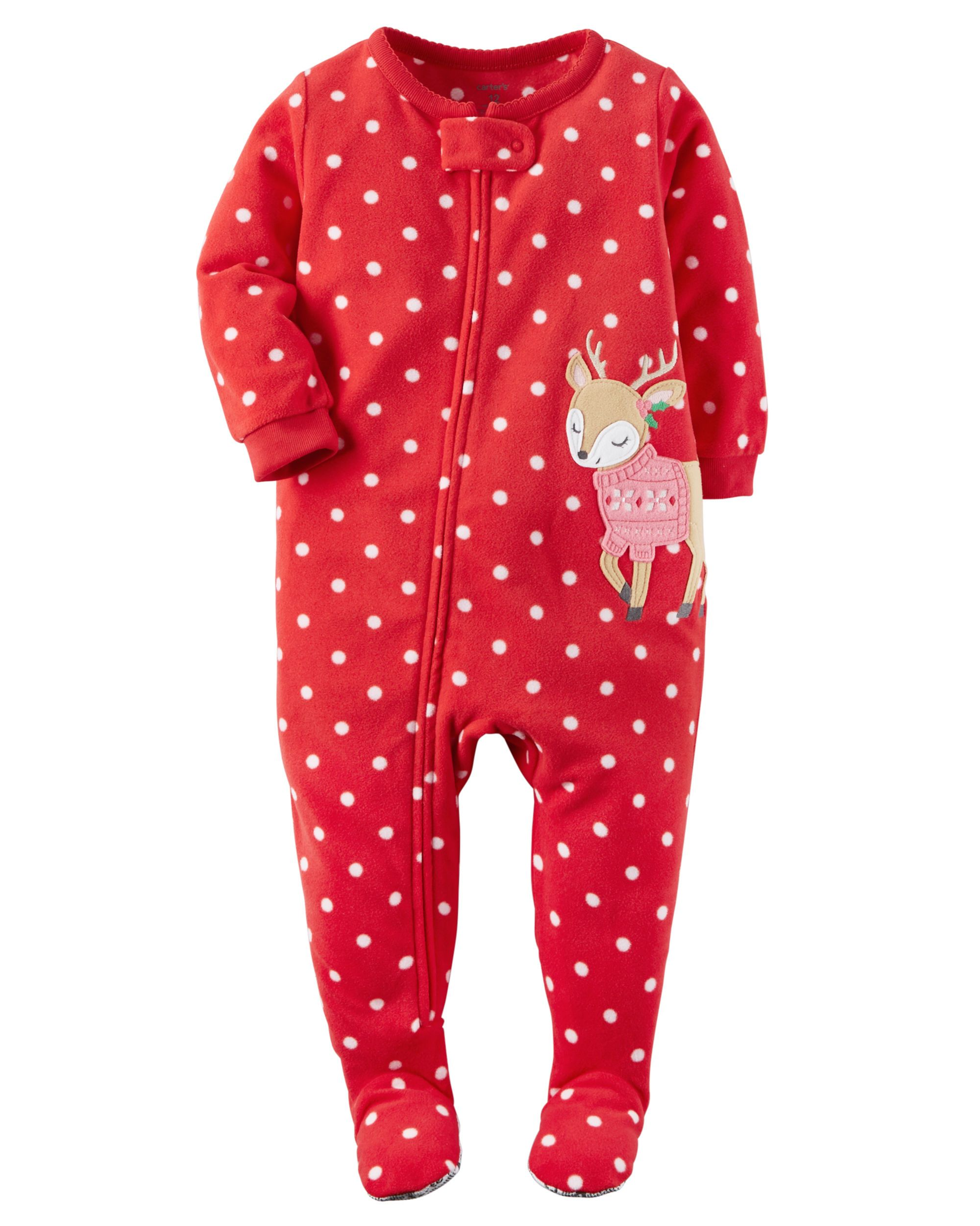 41b37aeaf1 Crafted in snuggly fleece with allover polka dots and a reindeer appliqué