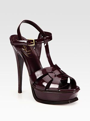 fb14c9808ce3 LOVE the dark burgundy color. Yves Saint Laurent - YSL Tribute Patent  Leather Platform Sandals - Saks.com