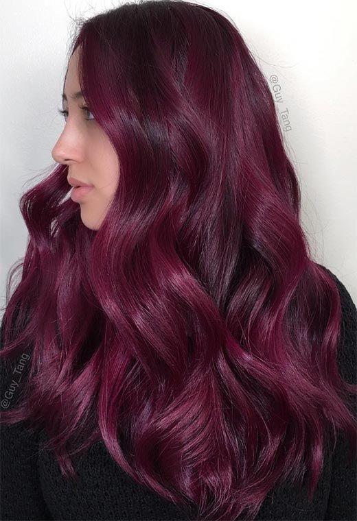 Your Plum Hair Color Guide: 57 Posh Plum Hair Color Ideas & Dye Tips -   16 plum hair Burgundy ideas