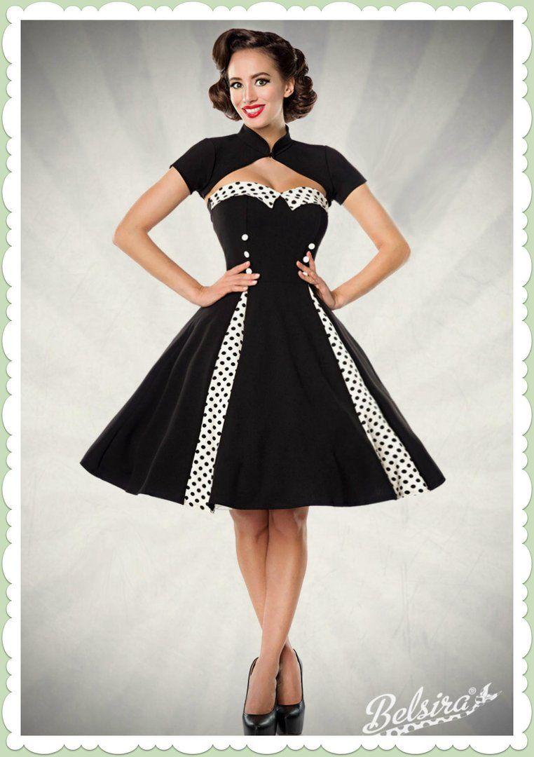 Belsira 50er Jahre Rockabilly Petticoat Kleid - Isabella - Schwarz ...