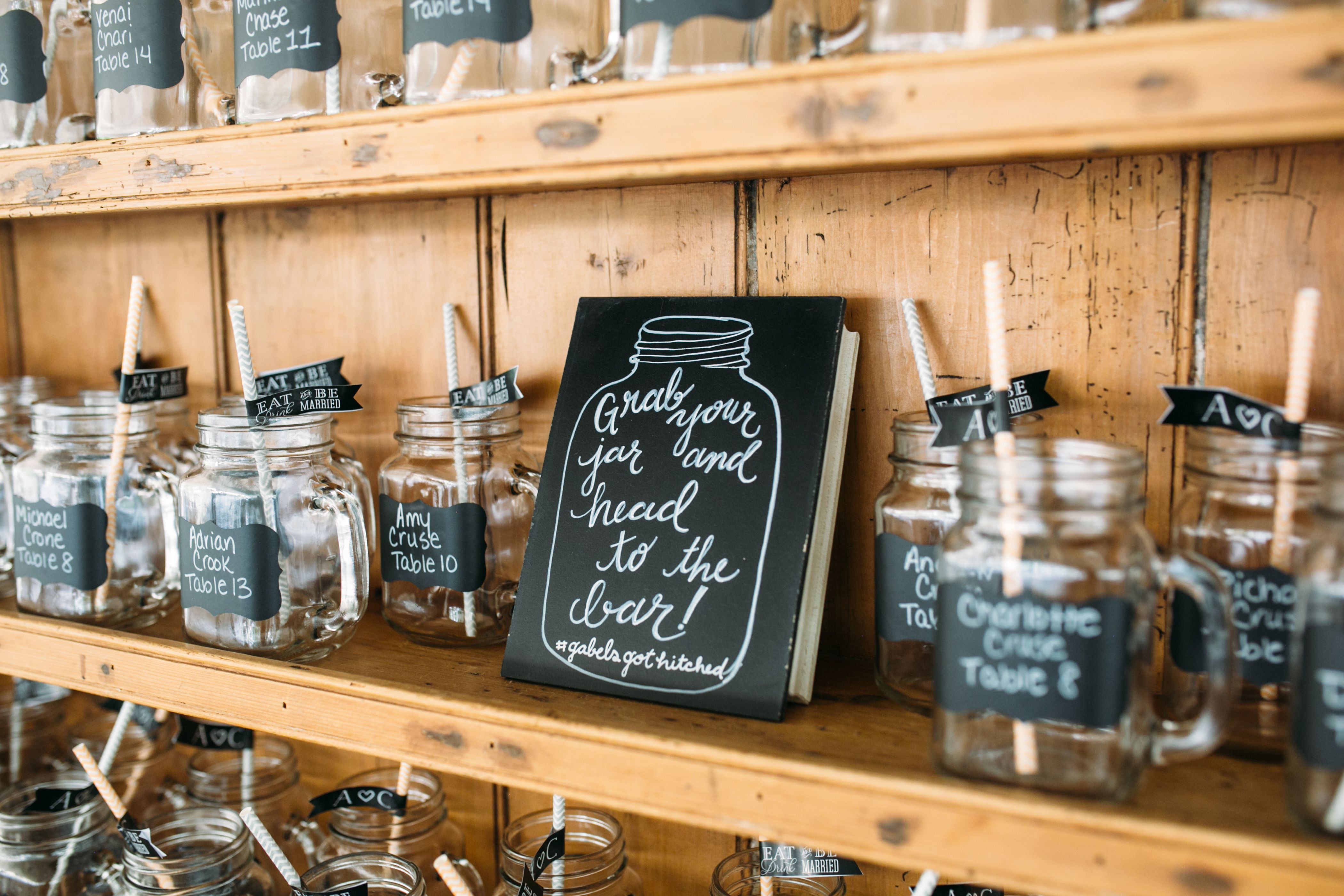 Clear Mason Jar Escort Cards and Favors  My actual wedding