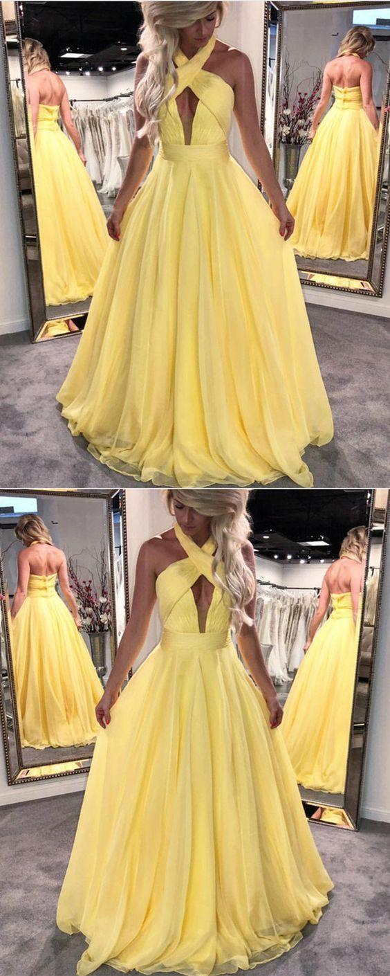 Beautiful yellow prom dress ruffles halter chiffon long backless
