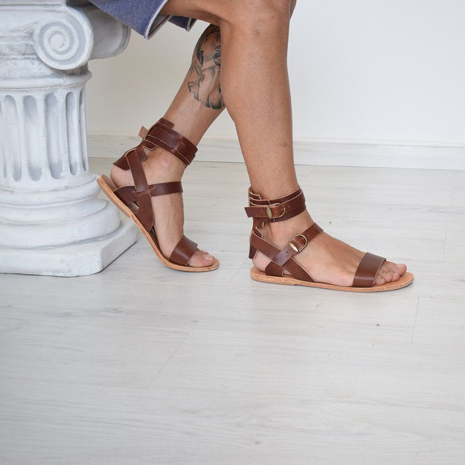 Mens Genuine Leather Gladiator Sandals Strap Ankle Strap Roman Greek Brown Leather Gladiator Sandals Gladiator Sandals Mens Leather Sandals