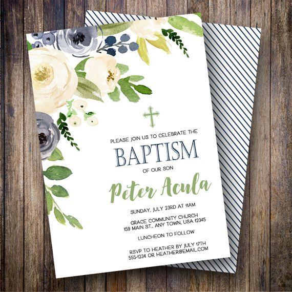 boy baptism invitation navy baptism invite gender neutral baptism