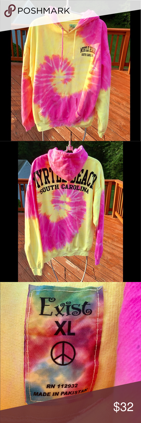 MYRTLE BEACH SOUTH CAROLINA TYE DYED SWEATSHIRT HOODED