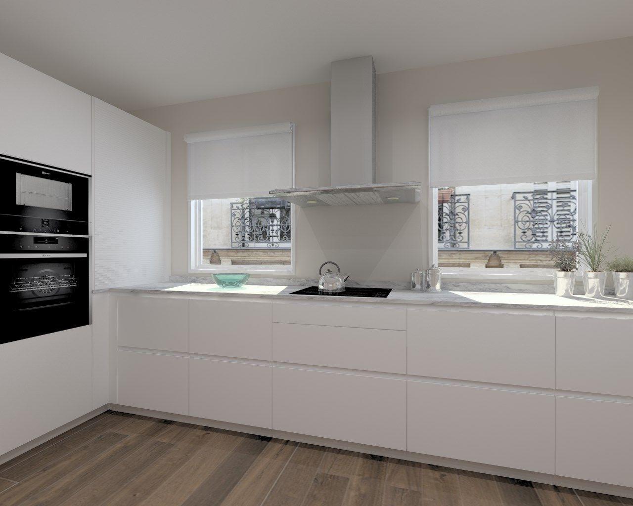 Cocinas santos modelo line laca seda blanco encimera Cocina blanca encimera granito negra
