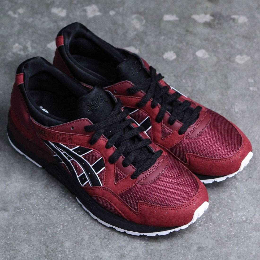 asics tiger men gel lyte v red pomegranate black