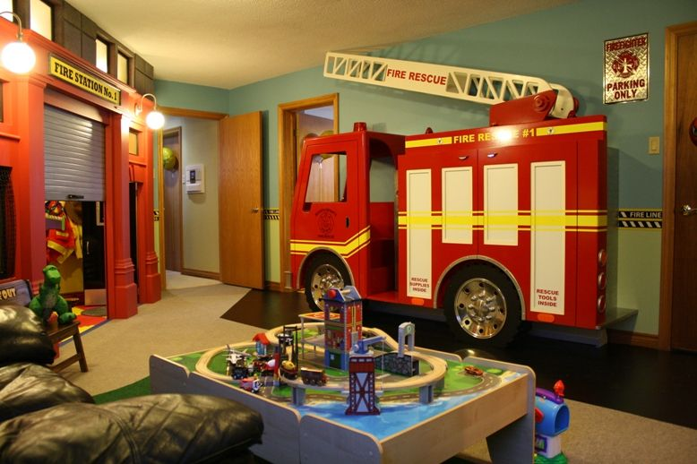 Pin By Lisa Rumler On Other Things I Love Firefighter Room Fire Truck Bedroom Toy Rooms