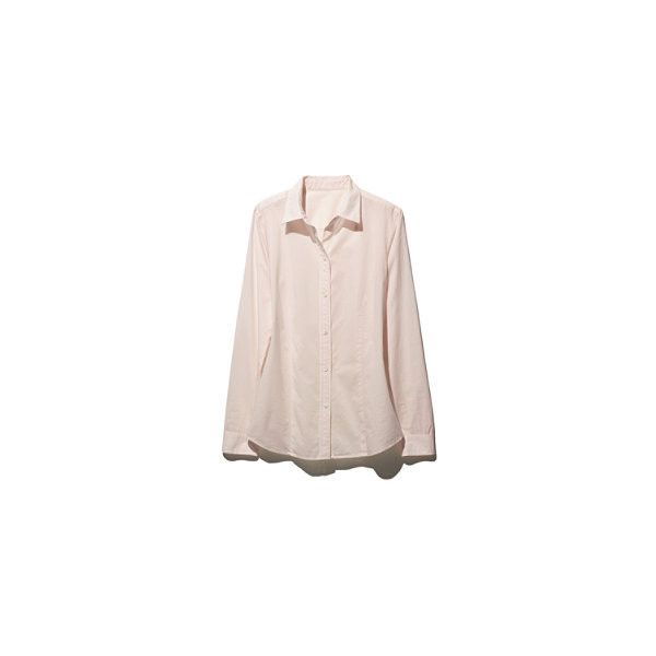 L.L.Bean Signature Signature Lightweight Poplin Shirt (175 ILS) ❤ liked on Polyvore featuring tops, pink top, fitted tops, feather top, light weight shirts and tailored shirts