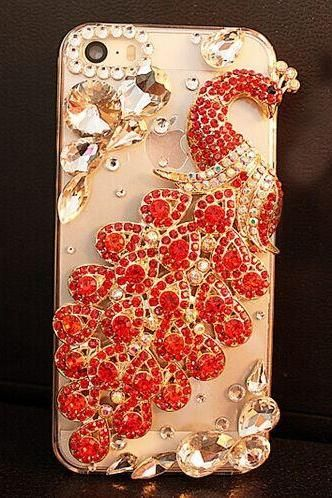 6c 6s plus iPhone6 galaxy s6 edge peacock Rhinestone cases Bling Phone 6 6 plus case for iPhone and Samsung mobile OEM phone case