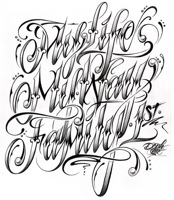 tattoo lettering styles trevino words of wisdom fonts 25030