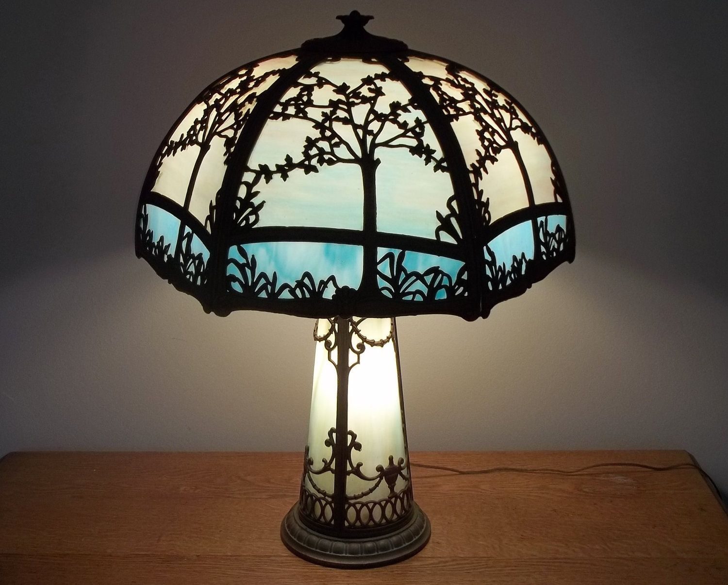 Antique Miller Slag Glass Table Lamp With Lighted Base On Sale. $1,095.00, Via Etsy.