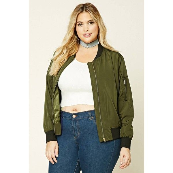 5364177a8fa33 Forever21 Plus Size Bomber Jacket ( 30) ❤ liked on Polyvore featuring  outerwear