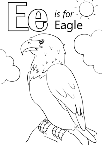 letter e is for eagle coloring page