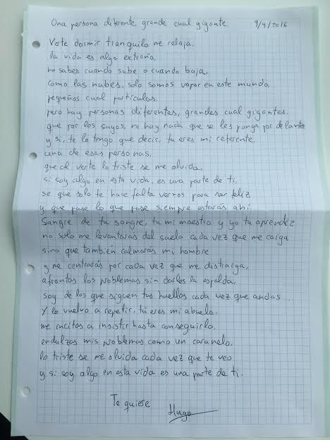 Carta del nieto a su abuelo enfermo