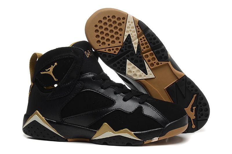 Cheap Nike Air Jordan 7 (VII) Retro Women Shoes Black Brown Gold