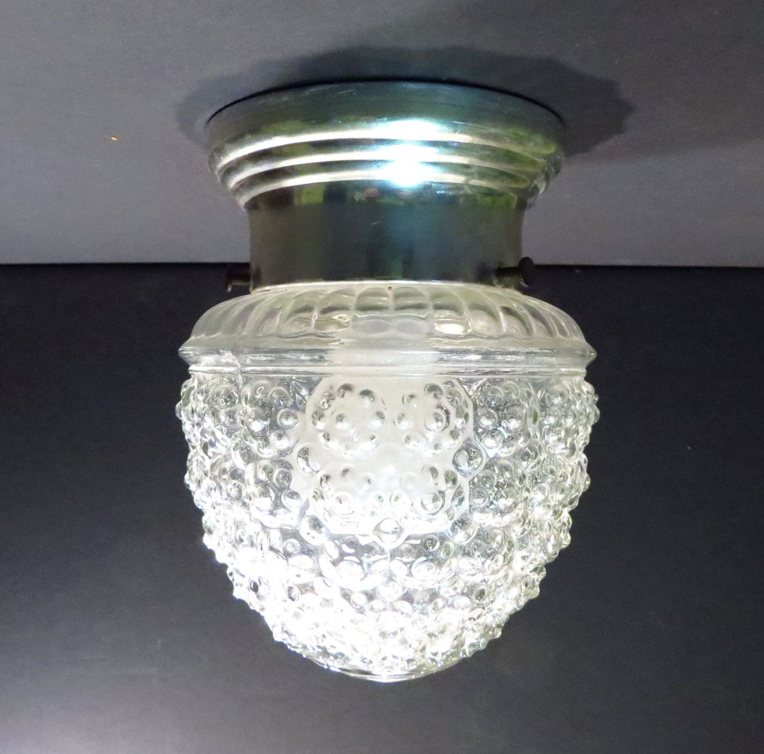 Mid Century Chrome and Glass Kitchen Ceiling Lamp Vintage ...