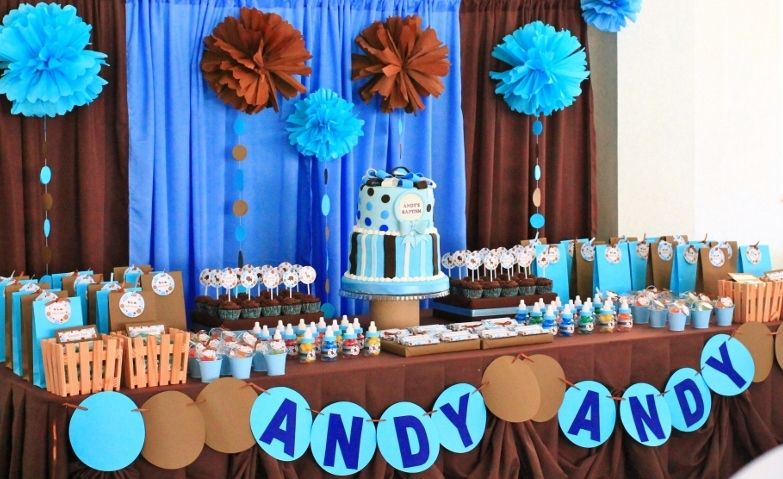 Blue And Brown Party Theme Kids Party Hub Blue And Brown Polkadots Dessert And Candy Buffet Baby Shower Candy Baby Shower Candy Table Cookie Monster Party