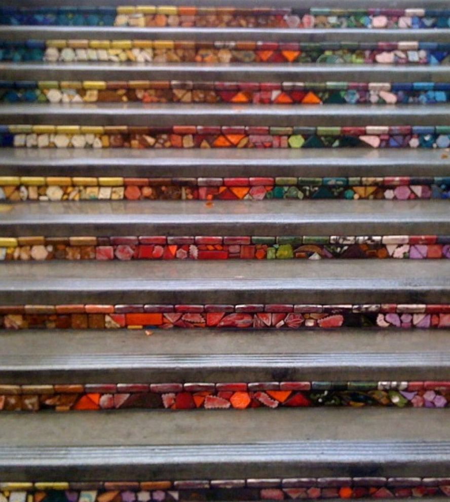 Rivers of Color tiled stairs | Great stairs