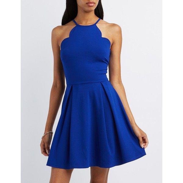 Charlotte Russe Scalloped Bib Neck Skater Dress ($35) ❤ liked on Polyvore featuring dresses, cobalt, blue skater skirt, blue flare dress, charlotte russe dresses, skater skirt and exposed zipper dress