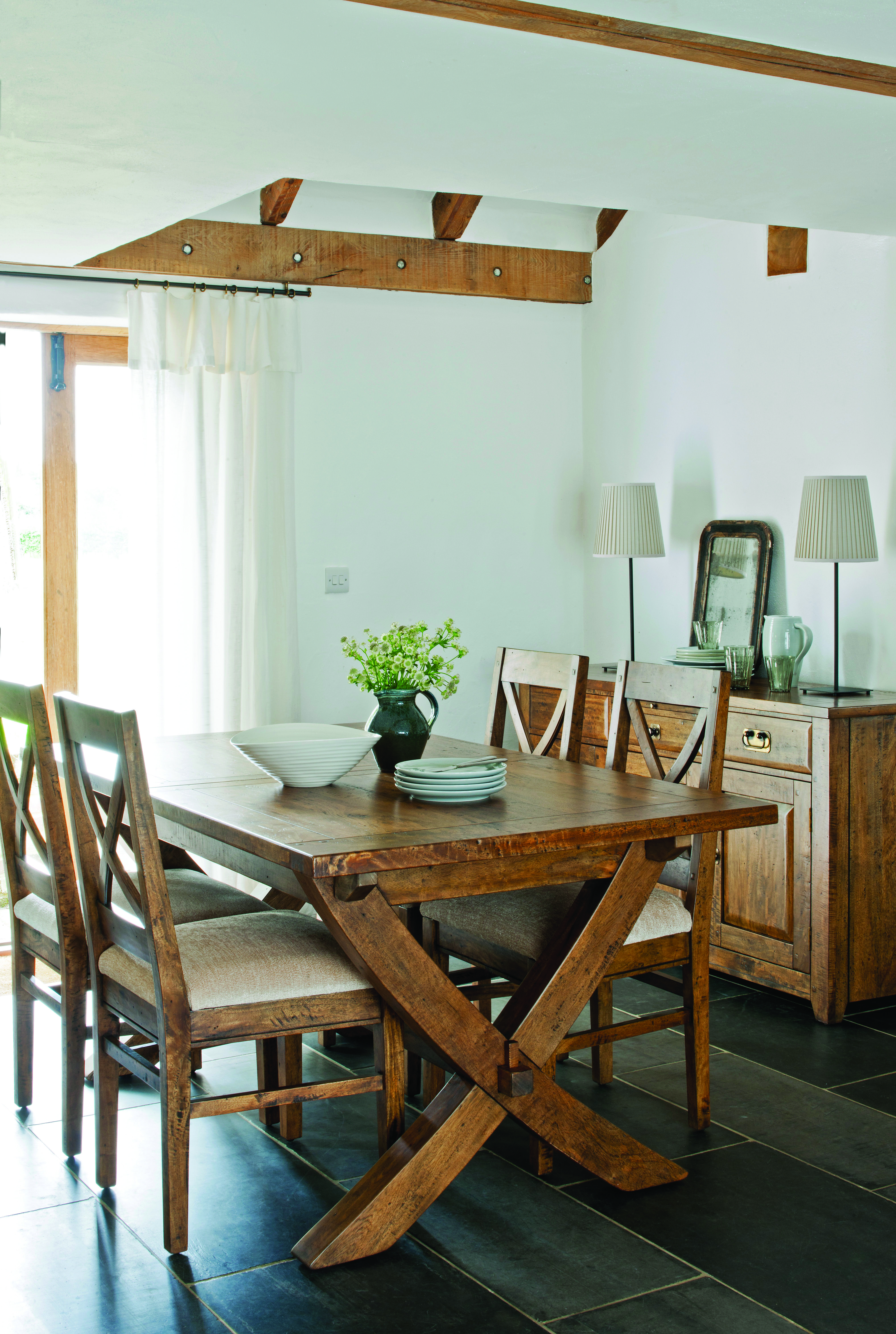 New Frontier Mango Wood X Leg Extending Dining Table and 4 Chairs ...