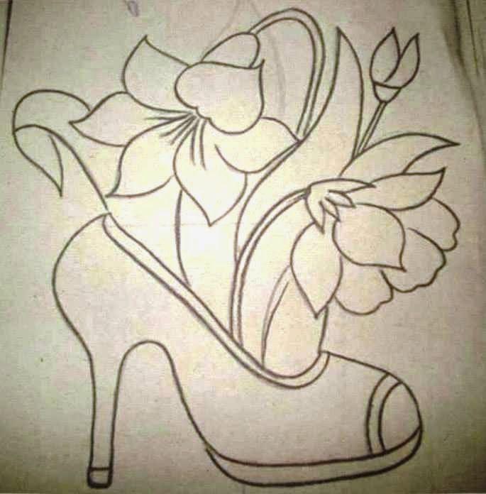 Risco Sapato Desenhos Sharpie Riscos Para Pintura Pintura Em