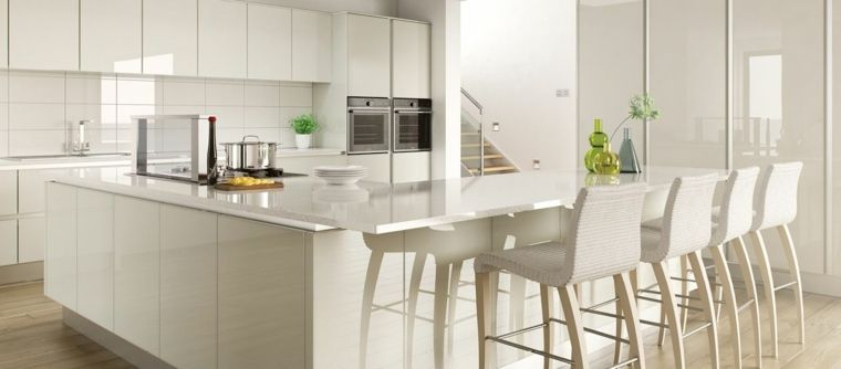 Photo cuisine avec plan de travail moderne en 65 idées - Table De Cuisine Avec Plan De Travail