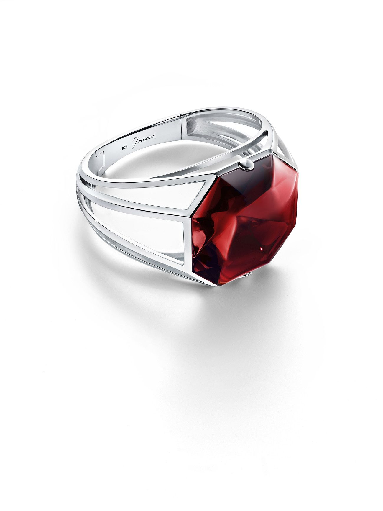 Baccarat cuff bracelet inspired by the emblematic red crystal octagon found in all Baccarat chandeliers.