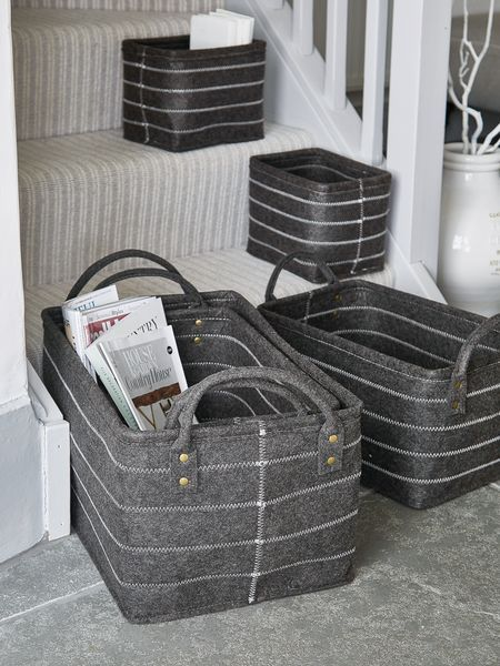 £59   4DEC16   Graphite Grey Felt Basket Set